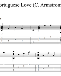 Sheet music, tabs for guitar. Portuguese Love Theme.