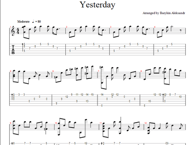 Sheet music, tabs for guitar. Yesterday