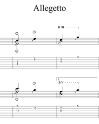 Sheet music, tabs for guitar. Allegretto 2.