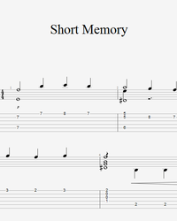 Sheet music, tabs for guitar. Short Memory.