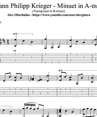 Sheet music, tabs for guitar. Minuet in A-minor (transposed in B-minor) .