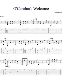Sheet music, tabs for guitar. O'Carolan's Welcome.