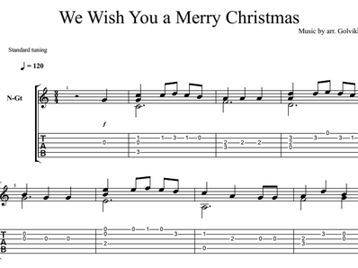 Sheet music, tabs for guitar. We Wish You a Merry Christmas