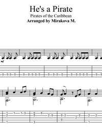 Sheet music, tabs for guitar. He's a Pirate!.