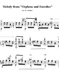 "Sheet music, tabs for guitar. Melody From the Opera ""orpheus and Eurydice""."