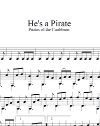 Sheet music, tabs for guitar. He's a Pirate.