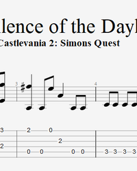 Sheet music, tabs for guitar. Castlevania 2. Simons Quest – The Silence Of The Daylight.