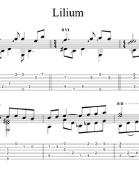 "Sheet music, tabs for guitar. Lilium from ""Elfen Lied""."