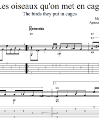 Sheet music, tabs for guitar. The Birds They put in Cages (Les oiseaux qu'on met en cage).