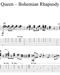 Sheet music, tabs for guitar. Bohemian Rhapsody.