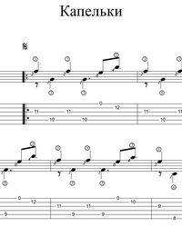 Sheet music, tabs for guitar. Droplets.