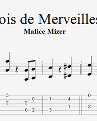Sheet music, tabs for guitar. Bois de Merveilles.