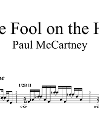 Sheet music, tabs for guitar. The Fool on the Hill.
