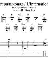 Sheet music, tabs for guitar. International (L'Internationale).