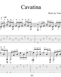 Sheet music, tabs for guitar. Cavatina.