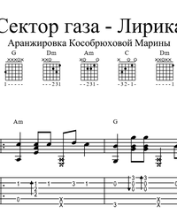Sheet music, tabs for guitar. Lyrics.