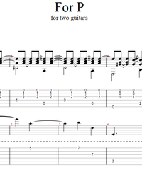Sheet music, tabs for guitar. For P.