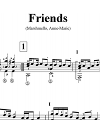 Sheet music, tabs for guitar. Friends.