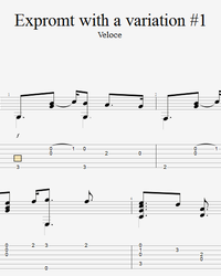 Sheet music, tabs for guitar. Impromptu with Variation # 1.