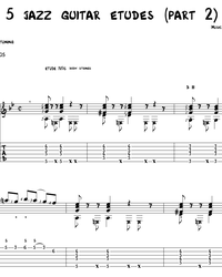 Sheet music, tabs for guitar. 5 Jazz Etudes (part 2).
