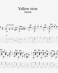 Sheet music, tabs for guitar. Yellow River.