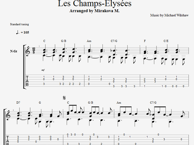 Sheet music, tabs for guitar. Les Champs Elysees
