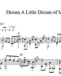 Sheet music, tabs for guitar. Dream A Little Dream Of Me.