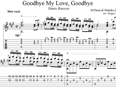Sheet music, tabs for guitar. Goodbye My Love, Goodbye