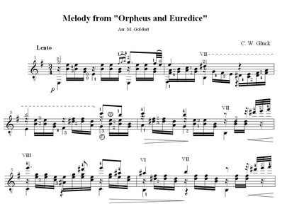 "Sheet music, tabs for guitar. Melody From the Opera ""orpheus and Eurydice"""