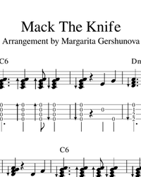 Sheet music, tabs for guitar. Mack The Knife.