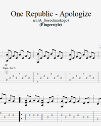 Sheet music, tabs for guitar. Apologize.