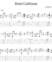 Sheet music, tabs for guitar. Hotel California.