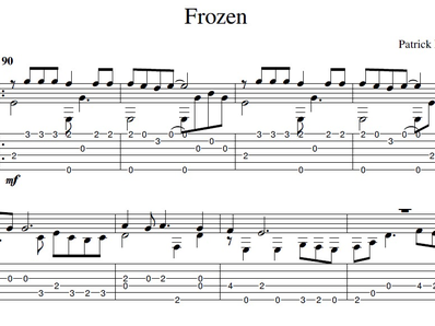 Sheet music, tabs for guitar. Frozen
