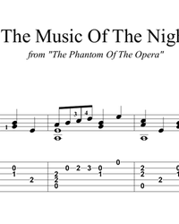 Sheet music, tabs for guitar. The Music of the Night.