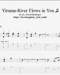 Sheet music, tabs for guitar. River Flows in You.
