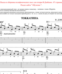 Sheet music, tabs for guitar. Toccatina.