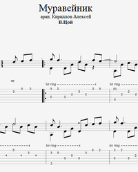 Sheet music, tabs for guitar. Anthill.
