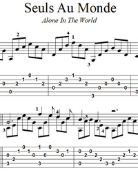 Sheet music, tabs for guitar. Alone In The World (Seuls Au Monde).