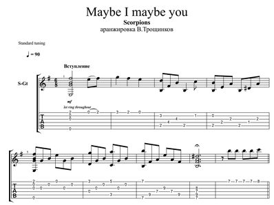 Sheet music, tabs for guitar. Maybe I Maybe You