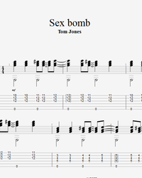 Sheet music, tabs for guitar. Sex Bomb.