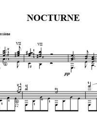 Sheet music, tabs for guitar. Nocturne.