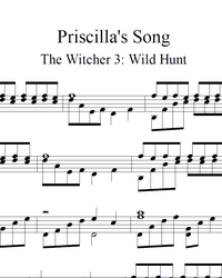 Sheet music, tabs for guitar. Priscilla's Song.