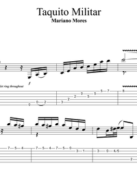 Sheet music, tabs for guitar. Taquito Militar (Tango, Milonga).