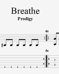 Sheet music, tabs for guitar. Breathe.