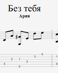 Sheet music, tabs for guitar. Without You.