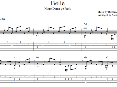 Sheet music, tabs for guitar. Belle (Notre Dame De Paris)