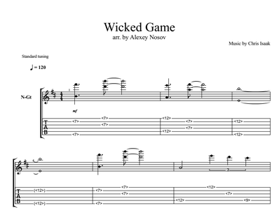 Ноты, табы для гитары. Злая игра (Wicked game)