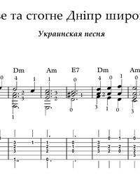 Noten, Tabulaturen für die Gitarre. The Dnieper Roars and Groans Wide.