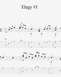 Sheet music, tabs for guitar. Elegy Alla Dassin .