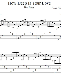 Sheet music, tabs for guitar. How Deep is Your Love.